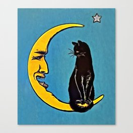 Black Cat & Moon Canvas Print