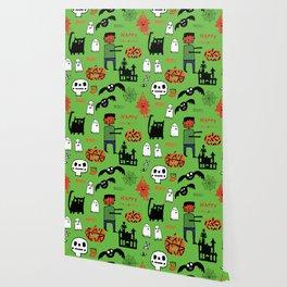 Cute Frankenstein and friends green #halloween Wallpaper