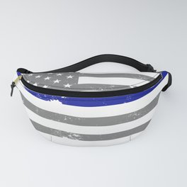 Distressed American Gray Police Flag USA Patriotic Blue Thin Line Police Flag Fanny Pack