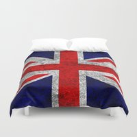 union jack Duvet Covers featuring Union Jack Grunge Flag by Alice Gosling
