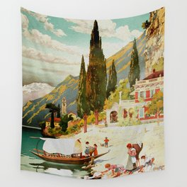 Switzerland and Italy Via St. Gotthard Travel Poster Wall Tapestry