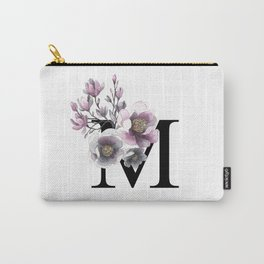 Letter 'M' Magnolia Flower Typography Carry-All Pouch