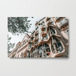 Casa Batllo, Barcelona Architecture, Antoni Gaudi, Spain Travel Landmark, Famous House, Vintage Retro Facade Metal Print