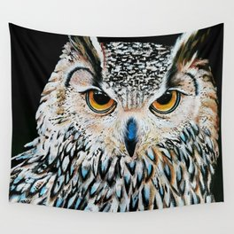 Owl portrait, acrylic on canvas Wall Tapestry