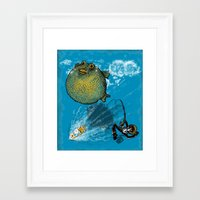 baloon Framed Art Prints featuring pufferfish baloon by MR. VELA
