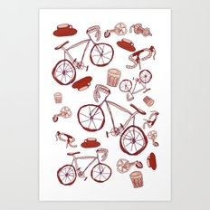 Bikes and Coffee Art Print