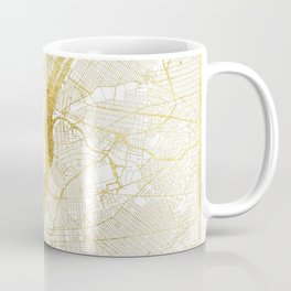 New York Map Gold Coffee Mug