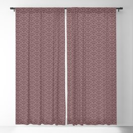 Pantone Red Pear Scallop Wave Pattern and Polka Dots Blackout Curtain