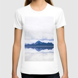 Navy blue Mountains Against Lake With Clouds T-shirt