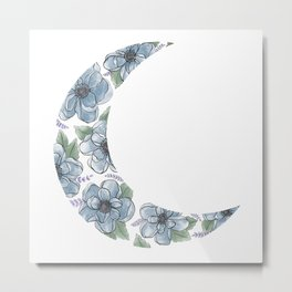 Floral Crescent Moon Blue (Clear Background) Metal Print