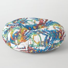 Bright Colorful Crab Collage Art by Sharon Cummings Floor Pillow