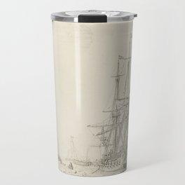 Dutch Ships near the Coast Oil Painting by Willem van de Velde the Elder Travel Mug