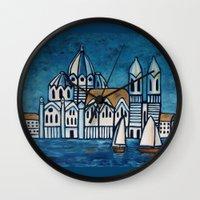 italy Wall Clocks featuring italy by Ninamelusina