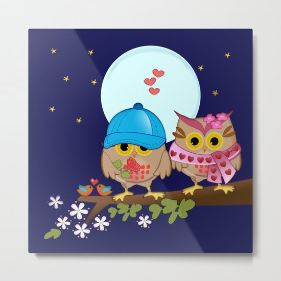 Blue moon Valentine's Owls Metal Print