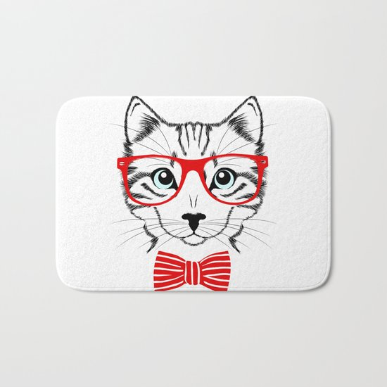 Hipster Cat with Red Glasses Bath Mat