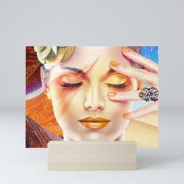 Beautiful Woman In The Desert Collage Mini Art Print