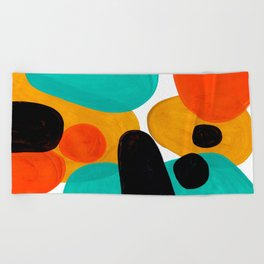 Mid Century Modern Abstract Minimalist Retro Vintage Style Rolie Polie Olie Bubbles Teal Orange Beach Towel