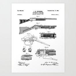 Automatic Rifle Patent - Browning Rifle Art - Black And White Art Print