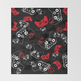 Video Game Red on Black Throw Blanket