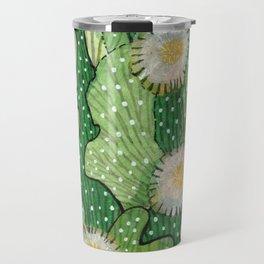 Blooming cactus, white & green, floral art Travel Mug