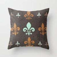 fleur de lis Throw Pillows featuring Fleur de lis #2 by Camille