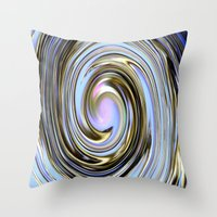 the wire Throw Pillows featuring Wire spiral by Hannah