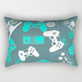 Video Games light blue on grey Rectangular Pillow