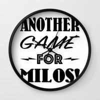 seinfeld Wall Clocks featuring Another Game for Milos Seinfeld Pillow by Eyne Photography