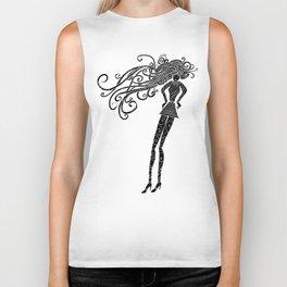 Long hair woman silhouette Biker Tank