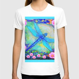 BLUE DRAGONFLY PINK ROSES BOHEMIAN  FANTASY ART T-shirt