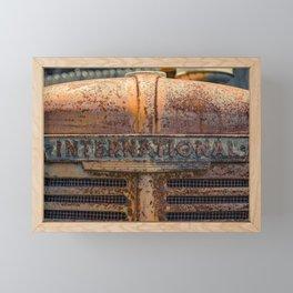 Rust Red International Bonnet Front Nameplate Rusty Tractor Framed Mini Art Print
