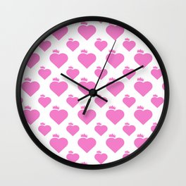 Crown Heart Pattern Pink Wall Clock