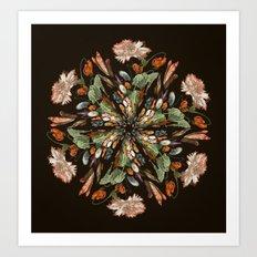 Flemish Floral Mandala 3 Art Print