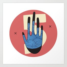 High Five in Blue Art Print