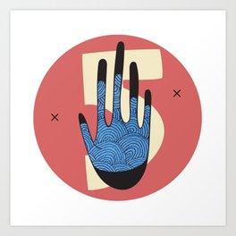 High Five in Blue Art Print