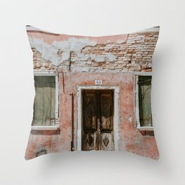 GRAY BRICK WALL OUTSIDE THE HOUSE Throw Pillow