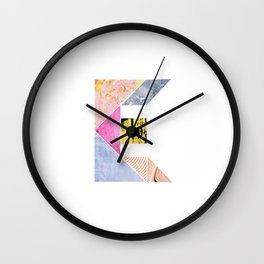 Collaged Tangram Alphabet - E Wall Clock