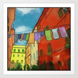 Laundry in Trastevere Art Print