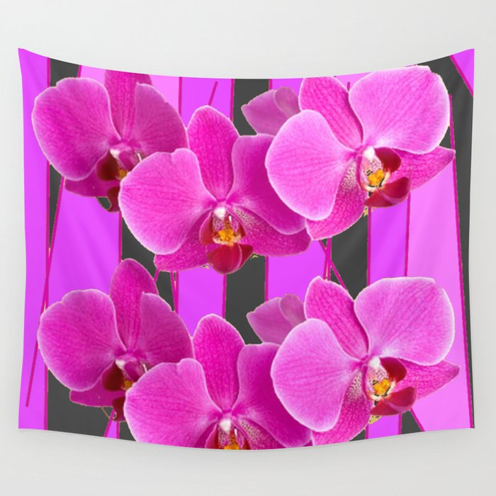 Modern Charcoal Grey Color Cerise Purple Orchids Wall Tapestry