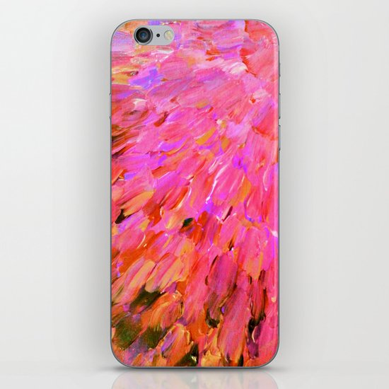 SEA SCALES IN PINK - Hot Pink Feminine Beach Ocean Waves Feathers Abstract Acrylic Painting Fine Art iPhone & iPod Skin