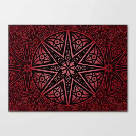 rashim red star mandala Canvas Print
