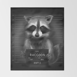 Raccoon Mugshot Throw Blanket