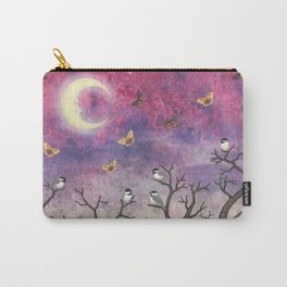 chickadees and io moths in the moonlit sky Carry-All Pouch