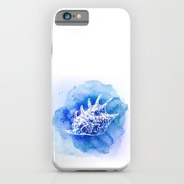 Blue Abstract Watercolor Seashell Rubber Stamp on White 6 Minimalist Coastal Art iPhone Case