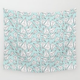 Paper Airplanes Mint Wall Tapestry