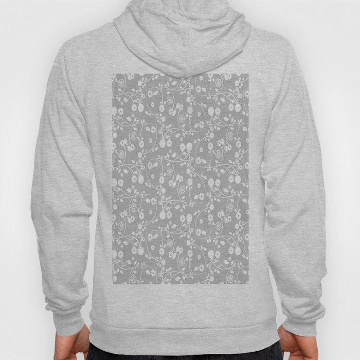 Silver Gray Floral Pattern Hoody
