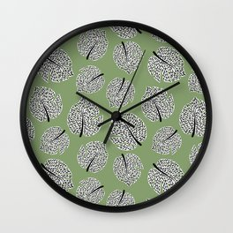 Abstract Monstera Leaf Pattern green Wall Clock