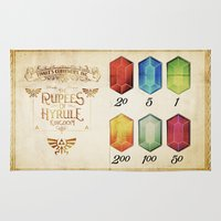 hyrule Area & Throw Rugs featuring Legend of Zelda - Tingle's The Rupees of Hyrule Kingdom by Barrett Biggers