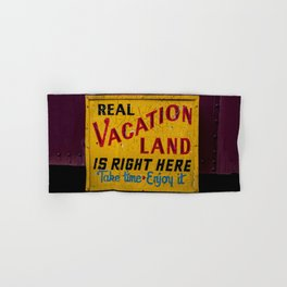 Weathered and Cracking Real Vacation Land Sign Hand & Bath Towel