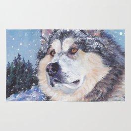 Alaskan Malamute dog portrait Fine Art Dog Painting by L.A.Shepard Rug